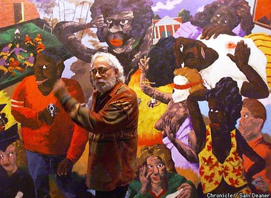 "Painter Robert Colescott, 73, of Tucson, Arizona, sings an old school days song while waltzing by his1988 painting titled ""School Days' from the Denver Museum Collection which is on exhibit at the University Art Museum at UC Berkeley. He said his painting sends the message, ""Take care of these things or it's going to be aimed at us."" CHRONICLE PHOTO SAM DEANER Photo: SAM DEANER"