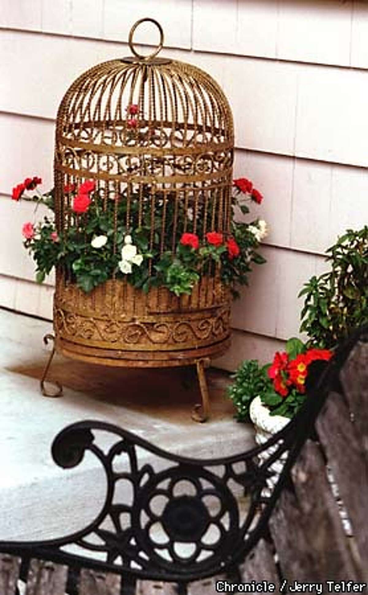 Repurposed wrought iron birdcage becomes a planter to accent a porch or patio. 10 Edgewater Ct. - San Rafael, CA BY JERRY TELFER/THE CHRONICLE