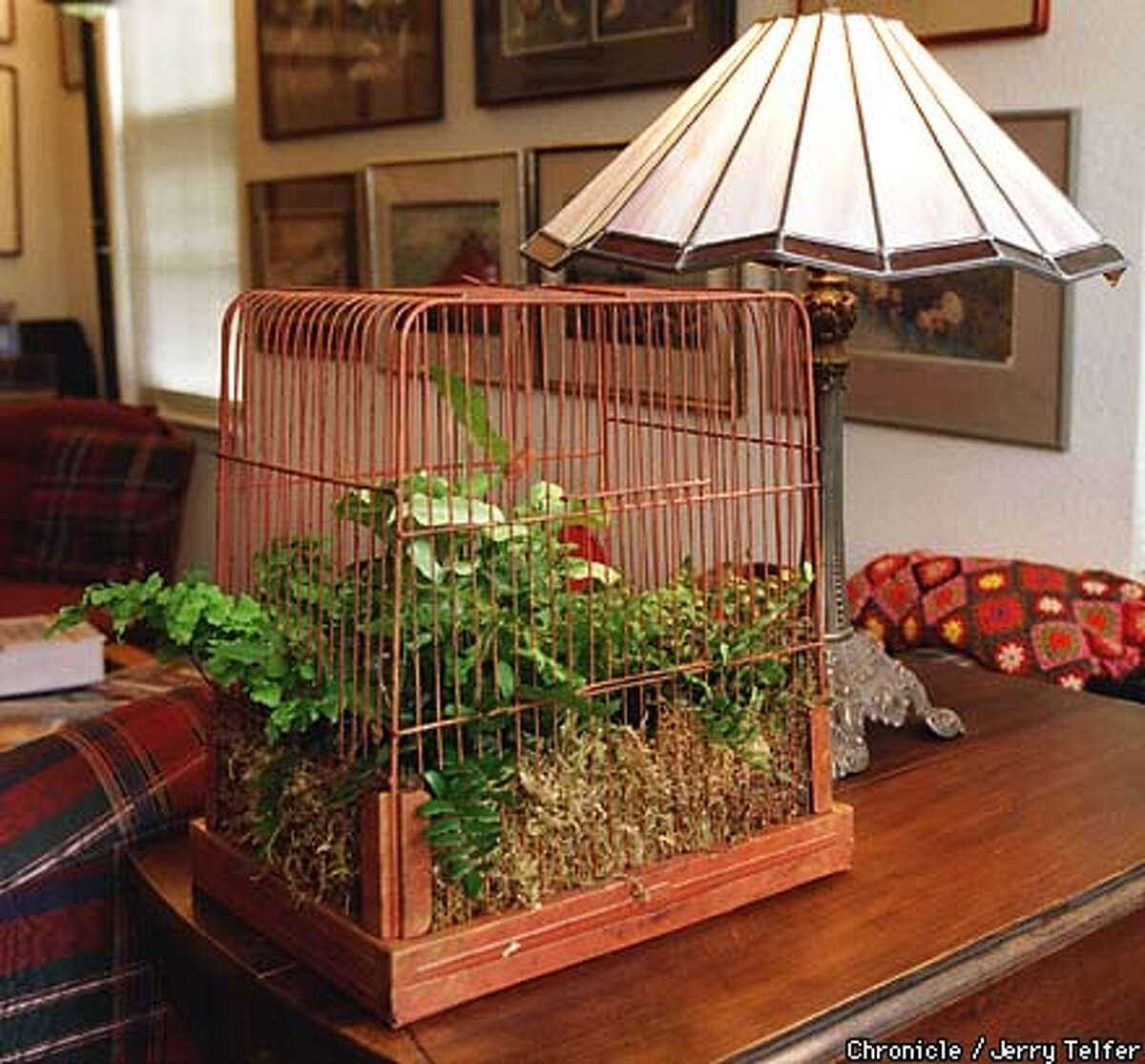 Antiqued birdcage gets a new role as a planter box. Individual plants can be left in their pots and replaced as needed without constantly repotting the whole thing. 10 Edgewater Ct. - San Rafael, CA BY JERRY TELFER/THE CHRONICLE
