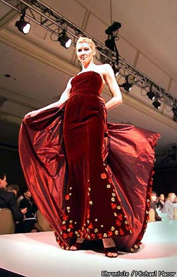 San Francisco Opera Guild, Annual Scholarship Luncheon and Gown Show presented by Nordstrom. A Burgundy Silk Velvet gown with Beaded Pansies, by designer Zang Toi. by Micahel Macor/The Chronicle Photo: MICHAEL MACOR