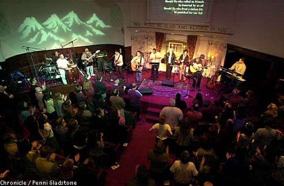 Rock musicians played at a Sunday service at Cornerstone, a conservative evangelical church in the Mission District. The church reaches a Generation X congregation. Chronicle photo by Penni Gladstone