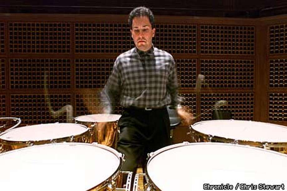 timpanist David Herbert is playing a solo timpani concerto with the SF Symphony. Here he practices in Davies Symphony Hall. SAN FRANCISCO CHRONICLE PHOTO BY CHRIS STEWART
