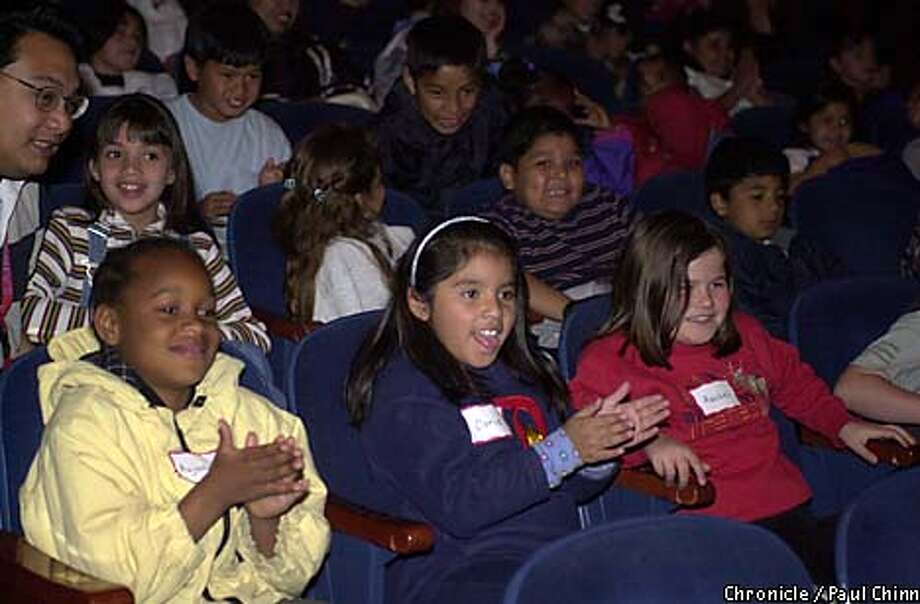 Aujaneeek Holden (left to right, front row), Doris Cortez and Rachel Harrison joined other schoolchildren from Alameda and Contra Costa counties at a performance by the Diablo Ballet. Chronicle photo by Paul Chinn