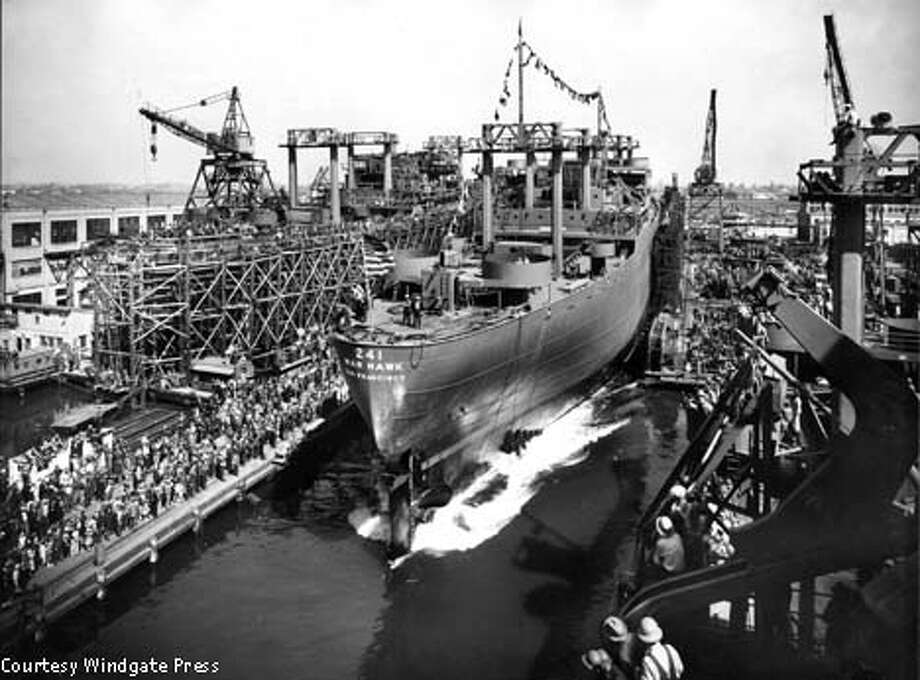 The freighter Warhawk, about to be launched from Moore Dry Dock  in Oakland. Photo Courtesy of Windgate Press
