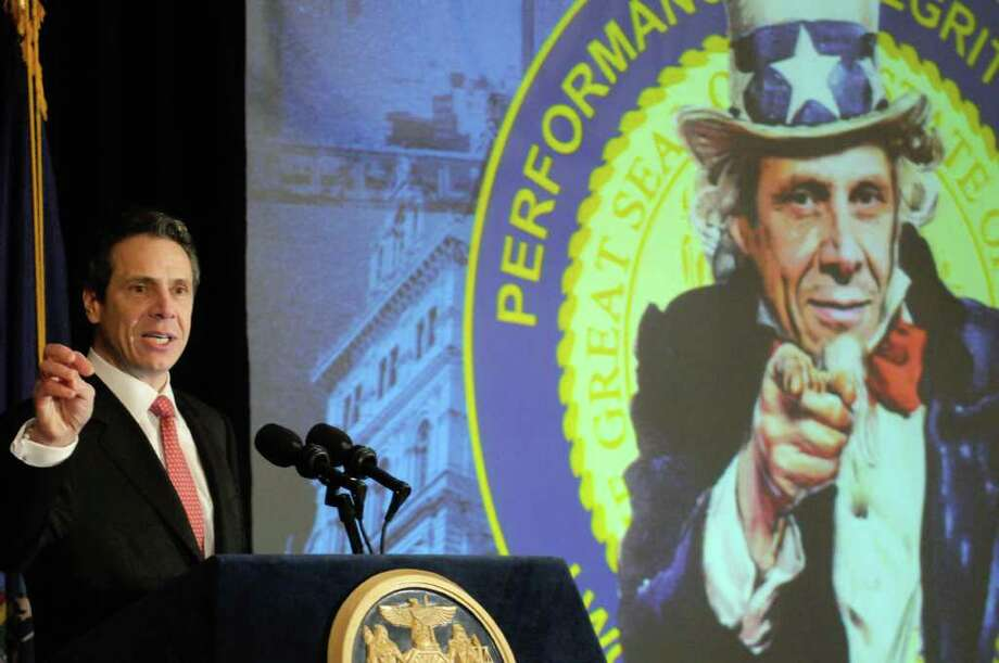 Gov. Andrew Cuomo speaks during the New York Association of Counties winter conference at The Desmond Hotel in Colonie, New York Wednesday Feb.1, 2012.( Michael P. Farrell/Times Union) Photo: Michael P. Farrell