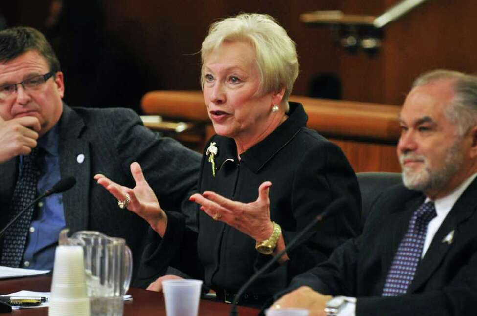 SUNY chancellor Nancy Zimpher, center, testifies before a NYS Legislative joint budget hearing on higher education in Albany Wednesday Feb. 1, 2012. (John Carl D'Annibale / Times Union)