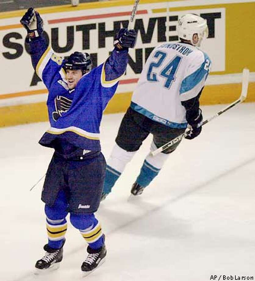 The Sharks hope to see very little celebrating by the Blues such as when Scott Young scored in a game in last year's playoffs. Contra Costa Times photo by Bob Larson via Associated Press