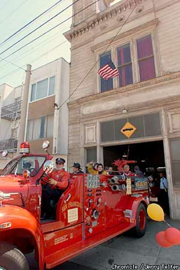 Bob Katzman takes visitors on a fire truck ride from the old Engine 33 firehouse in the Ingleside District which he and wife Marilyn bought from the City 25 years ago and have lived in ever since. Today they celebrated the 105th anniversary of the firehouse with an open house and rides on their fire truck.  117 Broad Street  CHRONICLE STAFF PHOTO BY JERRY TELFER Photo: JERRY TELFER