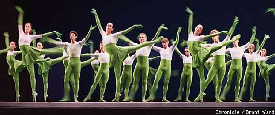 Mark Morris' ``Sandpaper Ballet'' featured San Francisco Ballet  dancers in lime green unitards with matching gloves designed by Isaac  Mizrahi. Chronicle Photo by Brant Ward