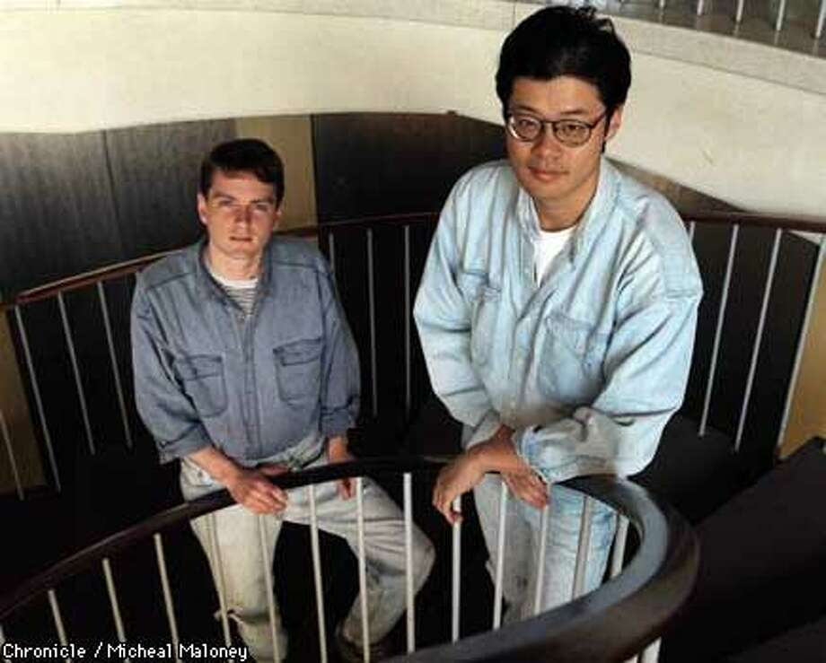 Yahoo co-founders David Filo(left) and Jerry Yang on the stairs in their Santa Clara headquarters.