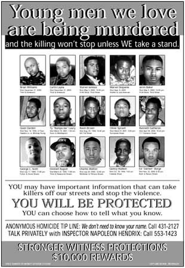 This poster, showing 15 young men who were slain in the streets, will be put up around the city, asking witnesses to come forward.