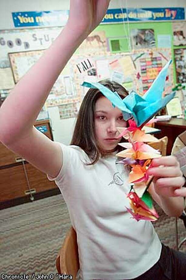 "Napa, CA. NAPA Boys and GOrls Club, 2310 FIrst st.  ""Origami"" A thousand Cranes. made by these young people and will be strung together.  Kim Hughes and her collection of Cranes  Photo/John O'Hara Photo: JOHN O'HARA"