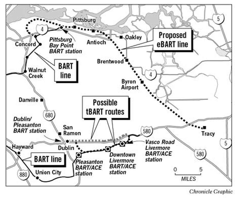 Bart Light Rail Proposal. Chronicle Graphic