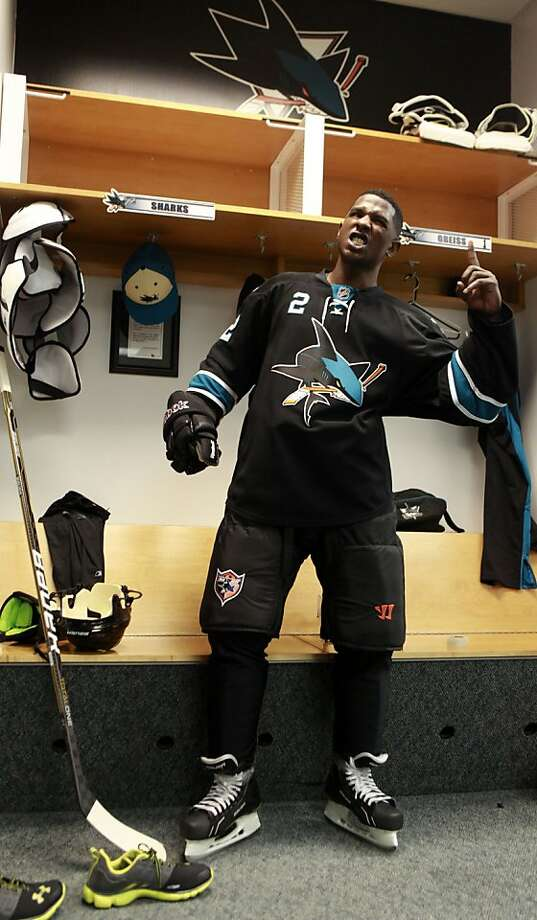 Milwaukee Brewers outfielder Nyjer Morgan suits up Wednesday, February 1, 2012. Morgan lived a dream when he skated with the San Jose Sharks on their practice ice in San Jose. Photo: Lance Iversen, The Chronicle