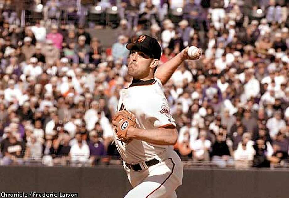 : Giant closer Rob Nen closes out the Padres in the nineth inning against the Padres for his first save of the 2001 season. Chronicle photo by Frederic Larson Photo: FREDERIC LARSON