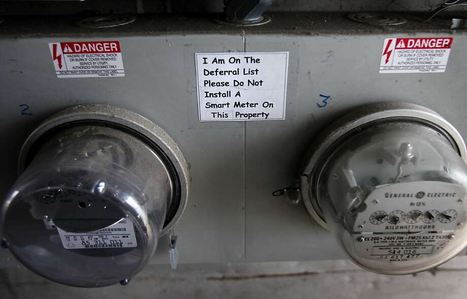 A San Francisco customer put a sign near the meter bank telling PG&E not to install a SmartMeter. Photo: Brant Ward, The Chronicle