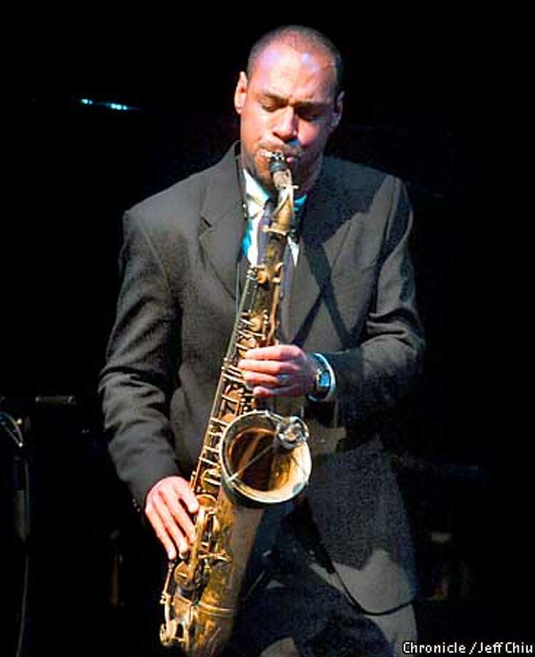 Joshua Redman, a Berkeley-raised jazz saxophone player, performs at an SFJAZZ spring concert at the Masonic Auditorium in San Francisco on Sunday night. Photo by Jeff Chiu / The Chronicle. Photo: JEFF CHIU
