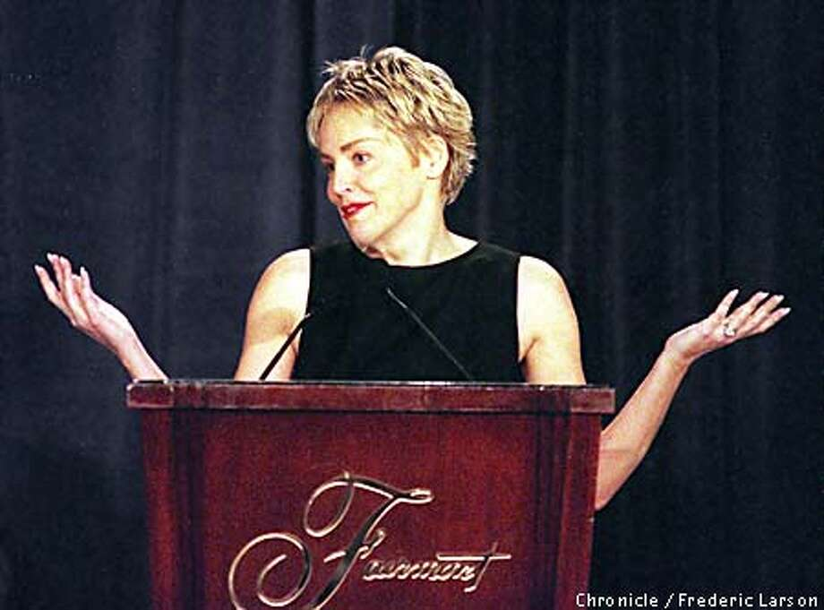 : Actress Sharon Stone was a quest speaker at the ASNE luncheon at the Fairmount SF. Chronicle photo by Frederic Larson Photo: FREDERIC LARSON