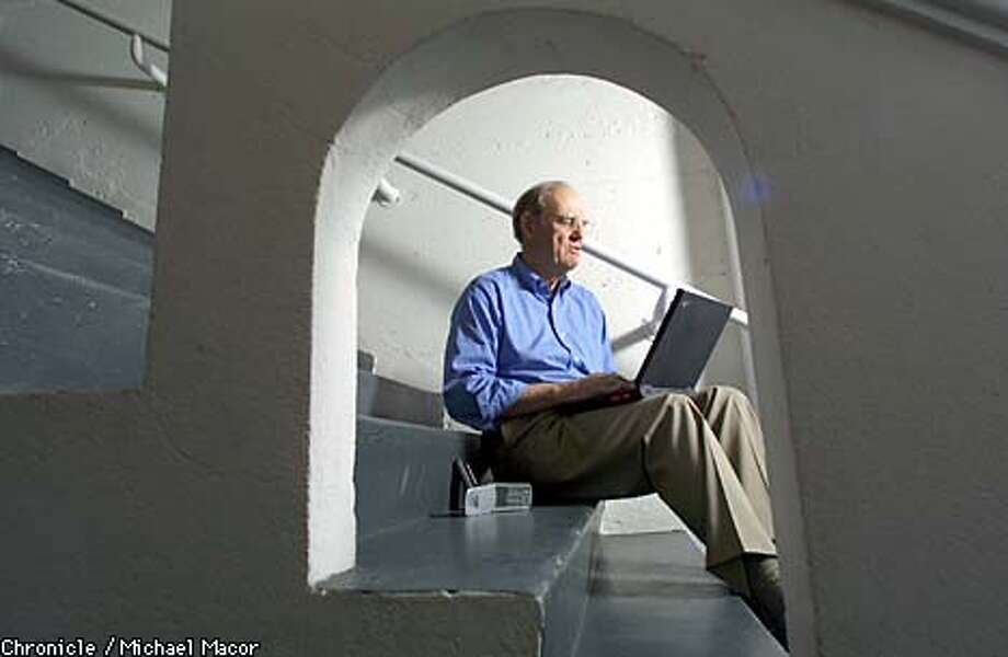 Investment banker Bill Hambrecht said he uses his laptop primarily for e-mail and scheduling. Chronicle photo by Michael Macor