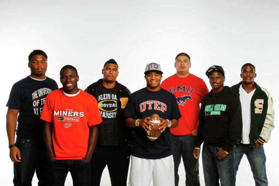 The ability to continue their careers in Texas led several players to sign with UTEP, North Texas and SMU, including, from left, Christian Harper of North Shore, Autrey Golden of Willis, Daniel Shaul of Klein Oak, DaShone Smith of Klein Oak, Christian Chamagua of Manvel, Xavier Kelly of Mayde Creek and AJ Justice of Stratford. Photo: Michael Paulsen / © 2011 Houston Chronicle