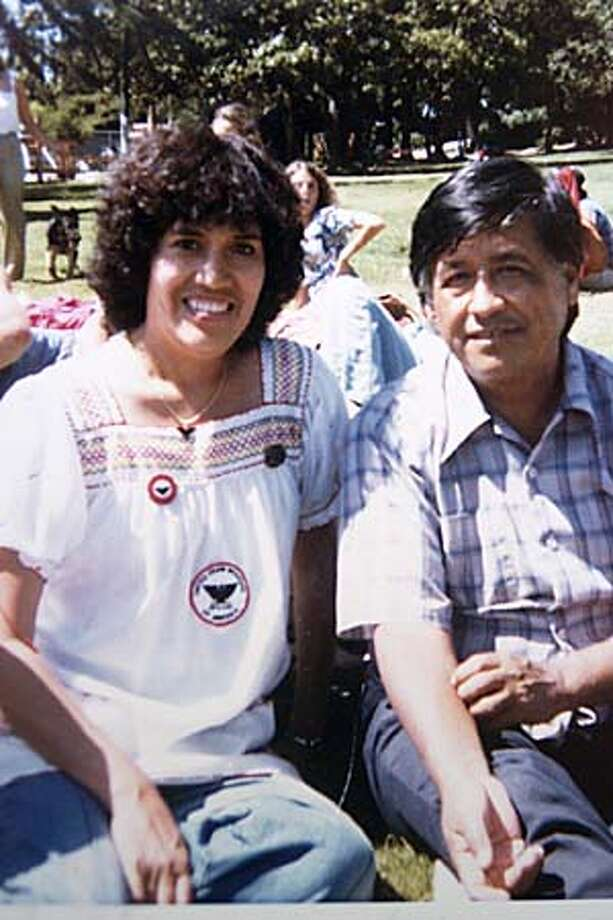 Aurora Rodriguez posed with Cesar Charvez at a UFW march in Oakland in August 1979. Handout Photo