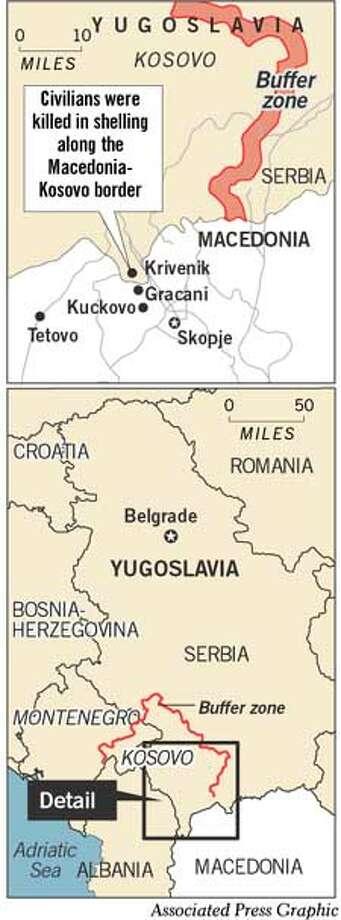 Civilians were killed in shelling along the Macedonia-Kosovo border. Associated Press Graphic