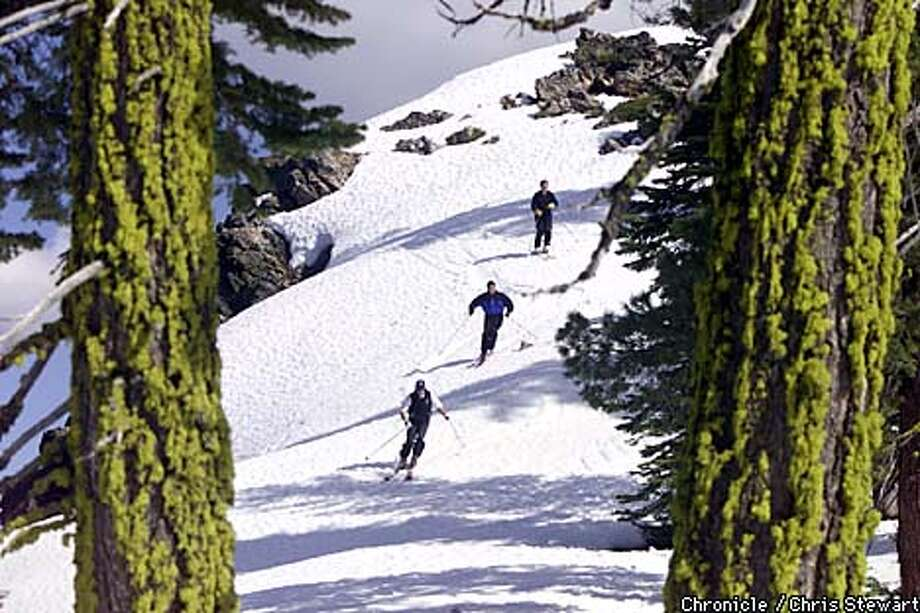 Skiers enjoyed a spring run on Dyer Mountain in Lassen County, around which developers are planning a new all-season resort. Chronicle photo by Chris Stewart