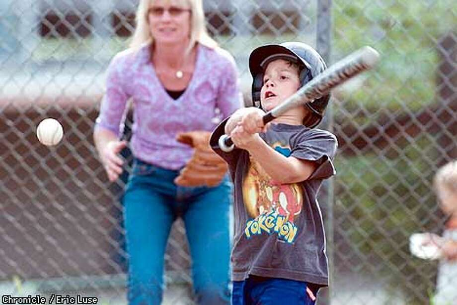 Liam Shorrock,8, of the Brookside Twins Farm League West Marin little league baseball team connected with a hit during practices in San Anselmo. The upcoming season opener is this weekend kicking off with a parade in downtown Fairfax on Sunday. One of the players mom Brynne Pogomcheff filled in as catcher. BY ERIC LUSE/THE CHRONICLE Photo: ERIC LUSE