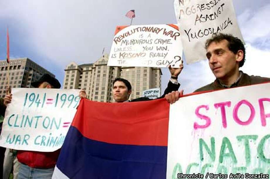 Demonstrators opposed to the NATO bombardment of Yugoslavia protested outside the Tech Museum during Vice President Gore's visit Chronicle Photo by Carlos Avila Gonzalez