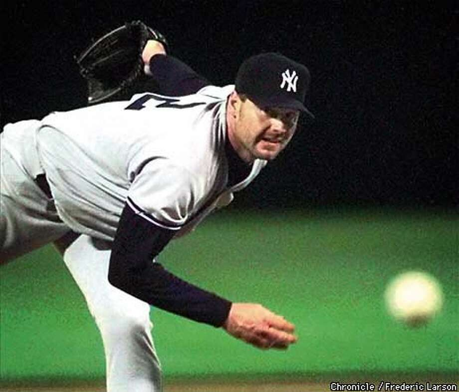 Yankees ace Roger Clemens was denied his 16th consecutive victory as the A's handed him a no-decision in their rain-shortened win. Chronicle Photo by Frederic Larson
