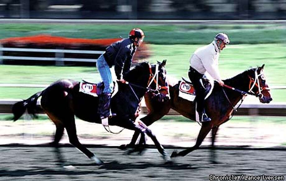 jockey's put their horses through their morning work-outs at Golden Gate Fields tuesday as the track prepares to open for the season wed 31st. By Lance Iversen/San Francisco Chronicle Photo: LANCE IVERSEN
