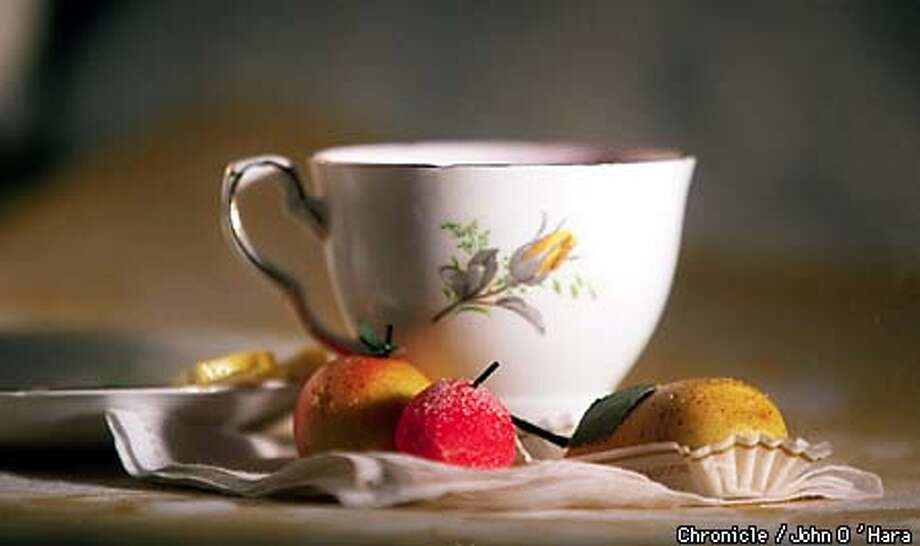 Chronicle studio  teacup and Marzipan fruits  Photo by....John O'Hara Photo: John O'Hara