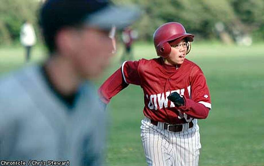 Michelle Ng rounds third on her way to score. She is the only female player on the Lowell baseball team. The senior starts at second base. Here they trounce O'Connell High School at Sweeny Diamond in Balboa Park. SAN FRANCISCO CHRONICLE PHOTO BY CHRIS STEWART Photo: CHRIS STEWART