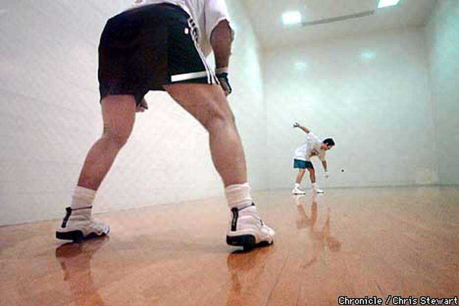 Rich Vasquez prepares to serve during a game of handball at the San Francisco Olympic Club, 524 Post Street, SF. He and partner Rich Dunne are champion handball players. SAN FRANCISCO CHRONICLE PHOTO BY CHRIS STEWART Photo: CHRIS STEWART