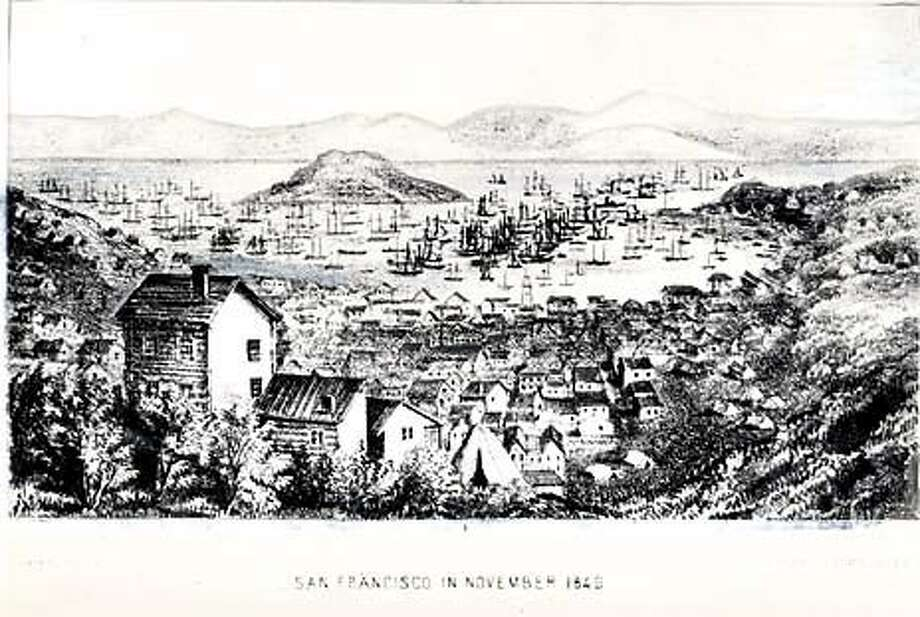 Drawing of San Francisco, circa 1849. Richardson had built the area's first wooden house years earlier