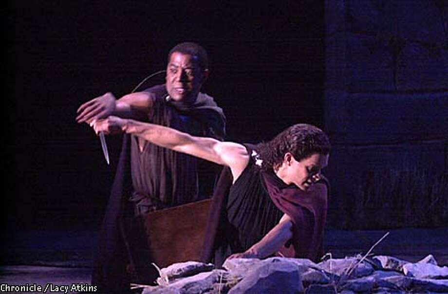 """Derrick Lee Weeden, left, and Duane Boutte in """"The Libation Bearers,'' at Berkeley Repertory Theatre. Chronicle photo by Lacy Atkins"""