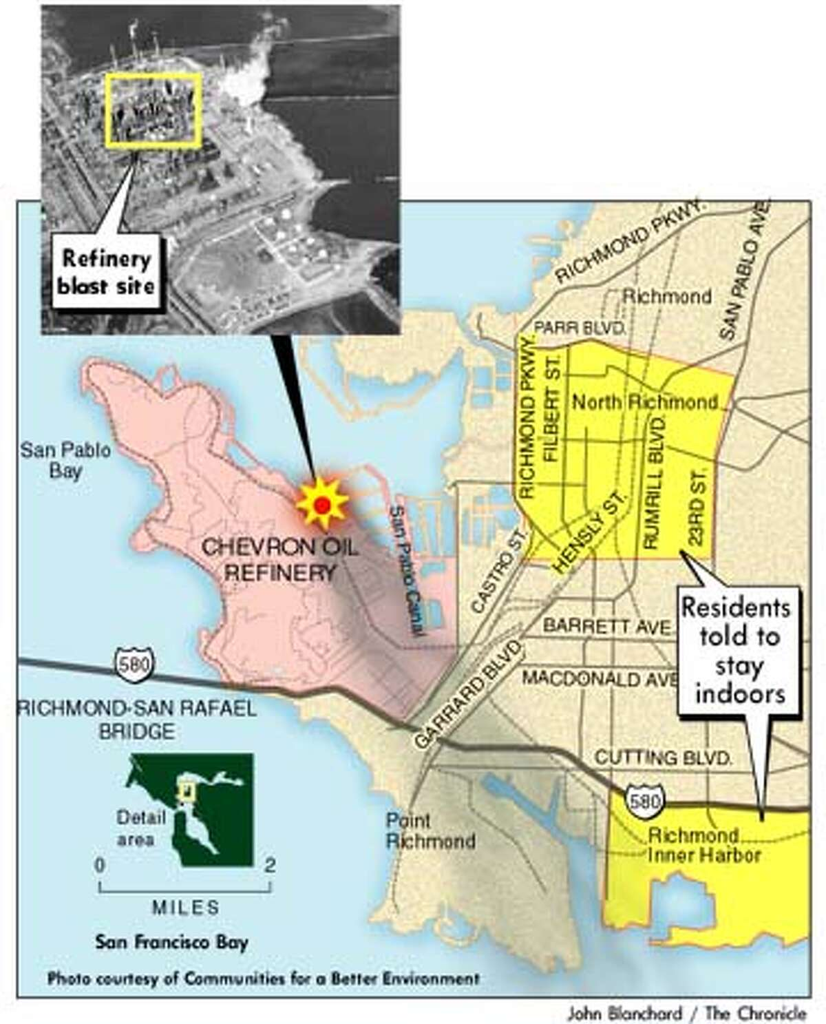 The Refinery Blast Site. Chronicle graphic by John Blanchard