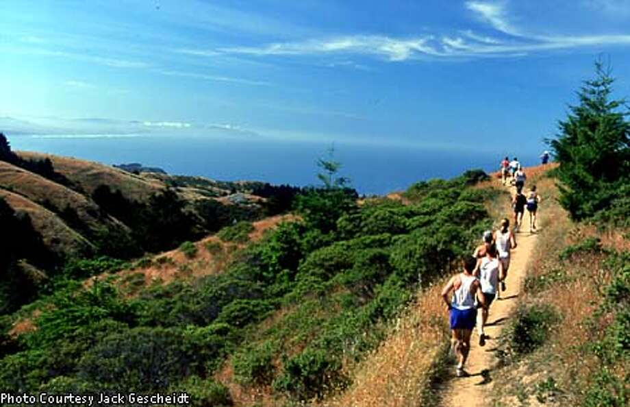Trail running, at places like the Dipsea Trail race course in Marin County, has become an increasingly popular outdoor exercise activity. Photo by Jack Gescheidt, special to the Chronicle
