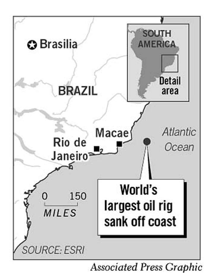 Brazilian Oil Rig Sinks. Associated Press Graphic