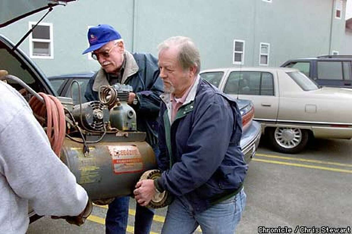 Paul Welty, 72 (L in blue cap) and Larry Brewer, 65, help a friend load up a compressor following breakfast at Stanton's Coffee Shop, a popular Eureka hang out. The retired CalTrans workers meet almost every day at Stanton's and have made the disappearance of the Sund family a major part of their coffee conversation. The car driven by Carole Sund, 42, was found yesterday near Yosemite. Also missing is Sund's daughter Juli, 16, and friend Silvina Pelosso, 16. They have been missing since Februrary 15. Chronicle Photo by Chris Stewart