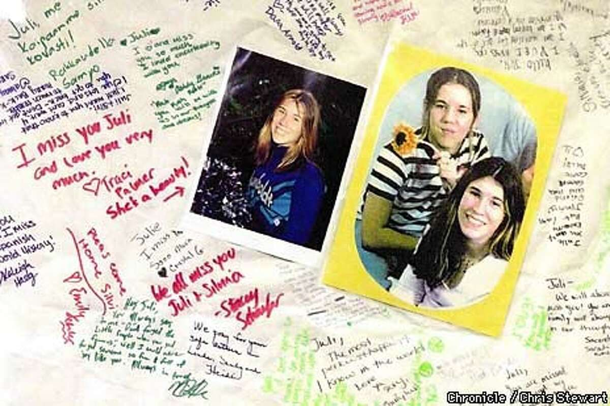 Messages to Julie Sund and Silvina Pelosso were written at Eureka High, where the teenage girls have been students. Chronicle Photo by Chris Stewart