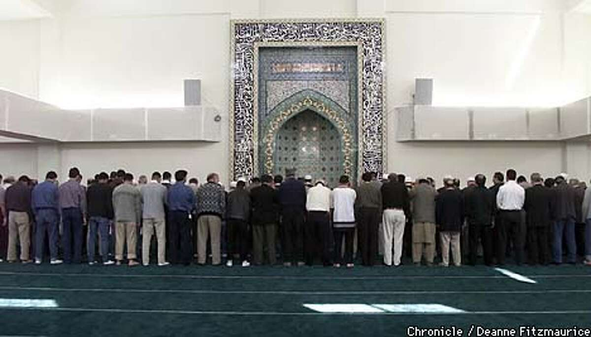 Afghan men prayed at a new $2 million mosque on Mission Boulevard in Hayward. The women pray in a separate part of the mosque. Chronicle photo by Deanne Fitzmaurice