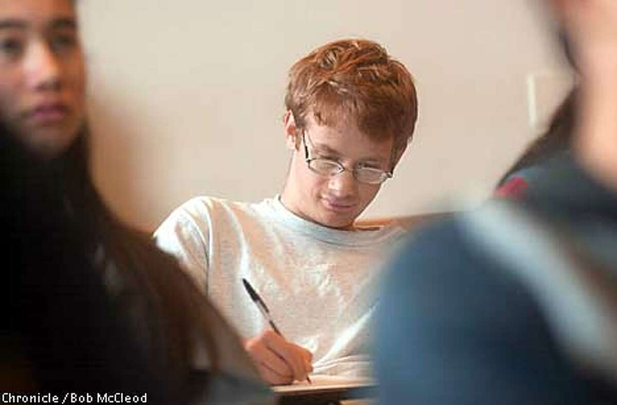math whizkid Gabriel Carroll, in class at uc berkeley. photo by bob mcleod