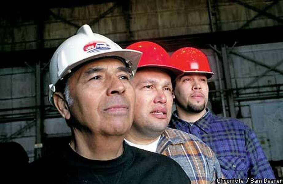 Willie Herrera, his nephew Ron Navarro Sr., and great-nephew Ronnie stand inside Pittsburg's USS-POSCO steel mill, where five generations of the Herreras and Navarros have worked since the early 1900s. Chronicle Photo by Sam Deaner