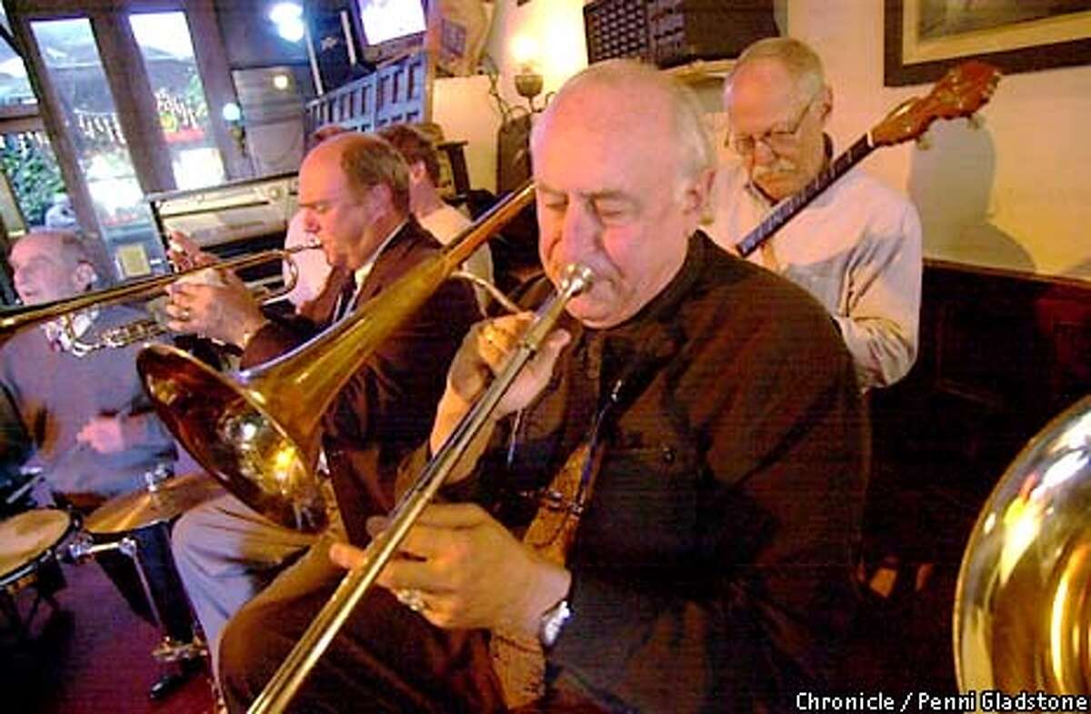 Mal Sharpe, known for his man on the street interviews is also the leader of the band, Big Money in Jazz. Playing at the NO Name Bar in Sausalito. PHOTO BY PENNI GLADSTONE