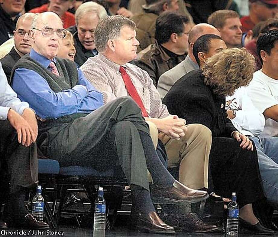 STANFORD-21DEC00-SP-JRS-John Arrillaga and Ted Leland at the Stanford vs. Duke basketball game at the Oakland Coliseum in the Pete Newell Challenge. Photo by John Storey. Photo: JOHN STOREY