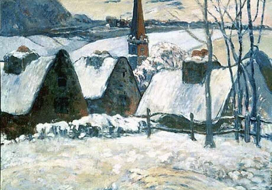 Paul Gauguin's ``Breton Village in the Snow'' (1894) is part of a collection of works in rural settings.