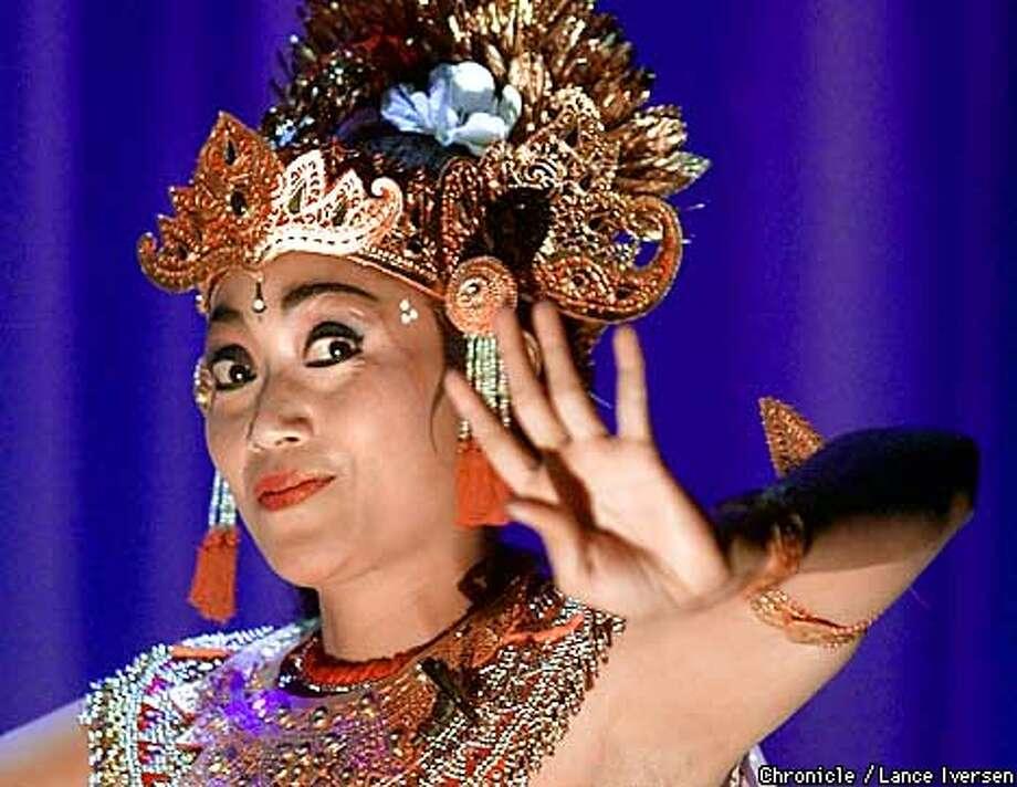 Dancer Ida Ayu Diastini performs the Bidadari ( forces of Nature ) in scene one of Gamelan Sekar Jaya being played at UC Berkeley's Zellerbach Hall this weekend. by LANCE IVERSEN/SAN FRANCISCO CHRONICLE Photo: LANCE IVERSEN