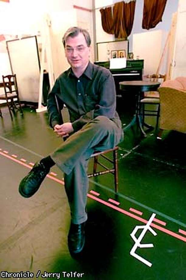 """Playwright/director Richard Nelson is in town to direct his play, """"Goodnight Children Everywhere."""" Nelson is shown here in an ACT rehearsal room, with markings for the edge of the stage and a centerline marking to show actors the location of center stage.  30 Grant Street  CHRONICLE STAFF PHOTO BY JERRY TELFER Photo: JERRY TELFER"""
