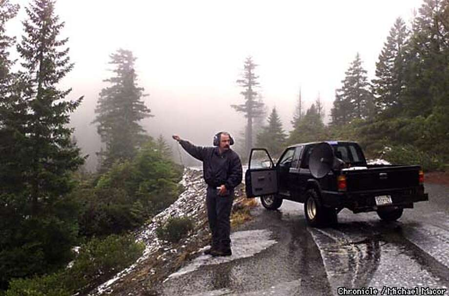 Bigfoot chaser John Freitas. Freitas along Jawbone Rd. in Six Rivers Nat'l Forest, holds a microphone to record, hopefully Bigfoot calls in the area. Freitas uses a hugh speaker on his pick-up truck to blast recorded Bigfoot calls across the valley in hopes of getting a reponse to record.Freitas stops for a moment as he hears a noise in the brush behind him. Freitas has been activly persueing Bigfoot for the past year. by Michael Macor/The Chronicle Photo: MICHAEL MACOR
